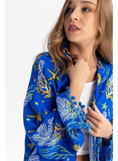 Tiffany&Tomato Püsküllü Akvaryum Desenli Kimono Mavi